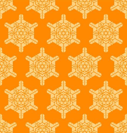 Japanese Orange Snowflake Vector Seamless Pattern Illusztráció