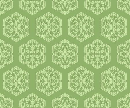 Japanese Green Snowflake Vector Seamless Pattern