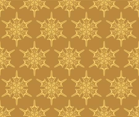 Japanese Gold Snowflake Vector Seamless Pattern