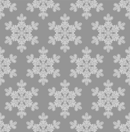 Japanese Gray Snowflake Vector Seamless Pattern