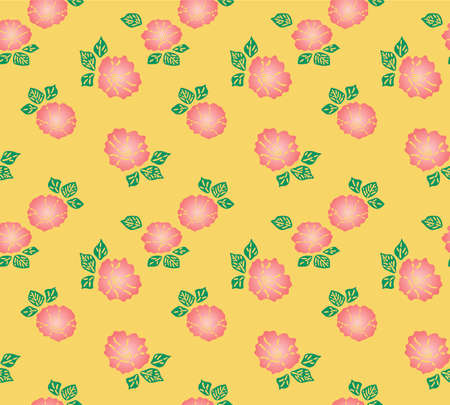 Japanese Colorful Pink Flower Vector Seamless Pattern
