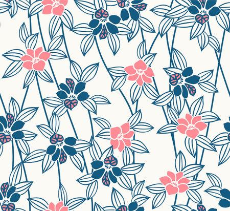 Japanese Cute Flower Vine Vector Seamless Pattern