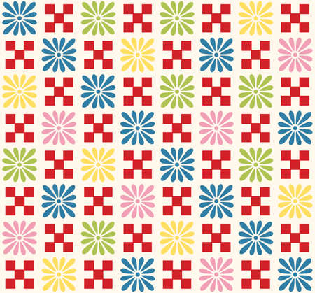 Japanese Colorful Flower Plaid Vector Seamless Pattern