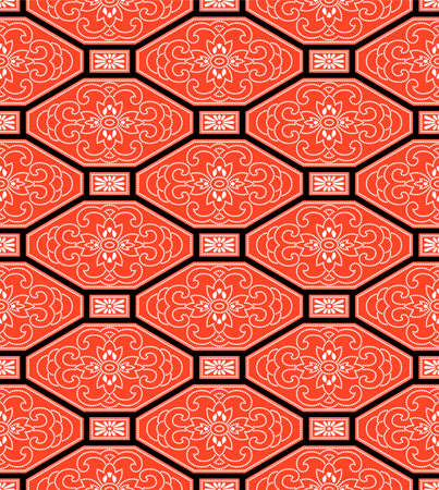 Japanese Flower Motif Octagon Vector Seamless Pattern