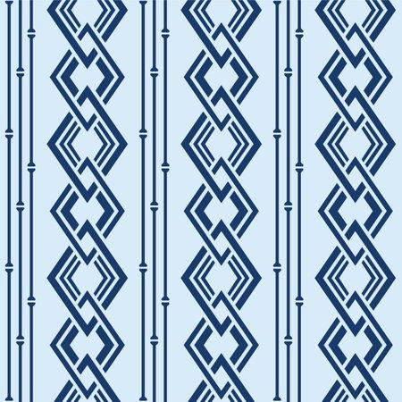 Japanese Overlap Diamond Chain Vector Seamless Pattern