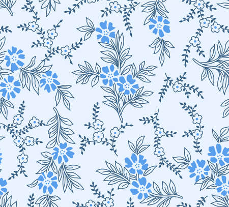 Japanese Cute Curl Flower Branch Vector Seamless Pattern