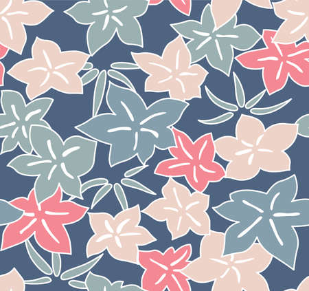 Japanese Pastel Leaf Vector Seamless Pattern Illusztráció