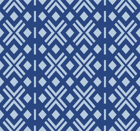 Japanese Blue Diamond Mosaic Stripe Vector Seamless Pattern