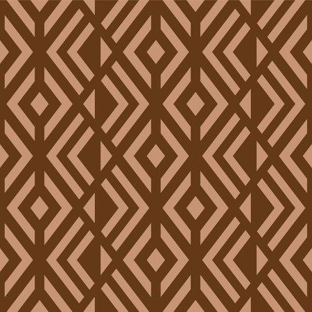 Japanese Brown Diamond Mosaic Vector Seamless Pattern