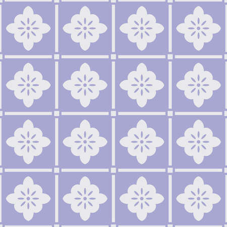 Japanese Flower Motif Square Vector Seamless Pattern
