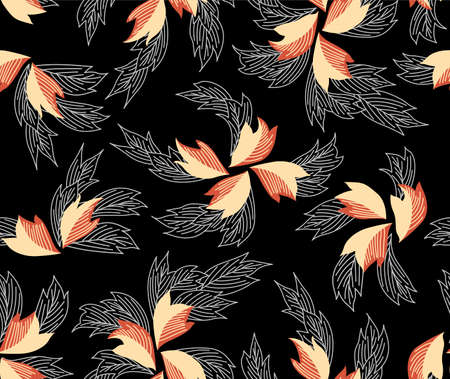Japanese Flowing Spiral Flower Vector Seamless Pattern Illusztráció