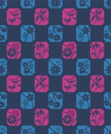 Japanese Flower Octagon Motif Vector Seamless Pattern