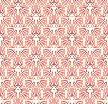 Japanese Hexagon Flower Petal Vector Seamless Pattern