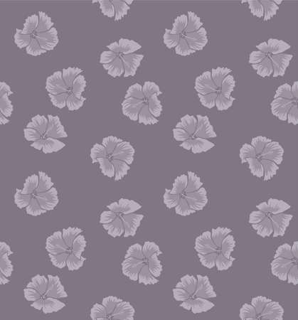 Japanese Hibiscus Flower Vector Seamless Pattern