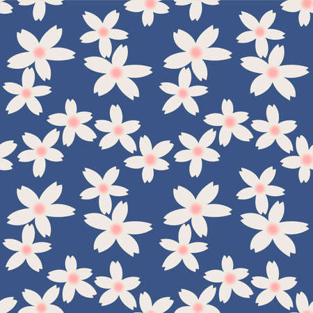 Japanese Pastel Cute Flower Vector Seamless Pattern Illustration