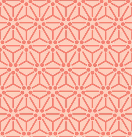 Japanese Hexagon Star Flower Vector Seamless Pattern
