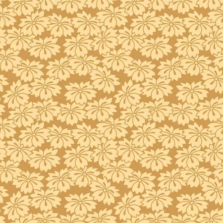 Japanese Gold Flower Fall Vector Seamless Pattern Illustration