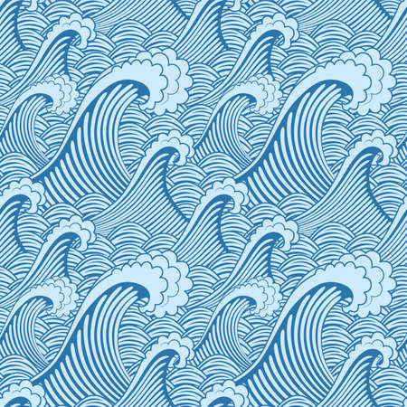 Japanese Storm Wave Vector Seamless Pattern