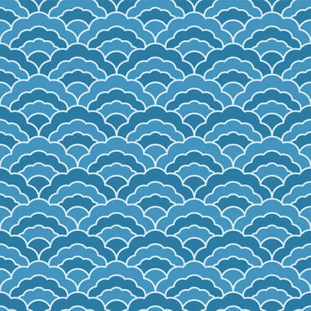 Japanese Clam Shell Wave Vector Seamless Pattern