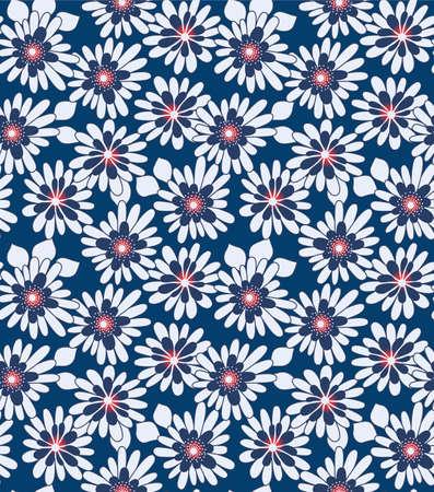 Japanese MIdnight Bloom Vector Seamless Pattern Illustration