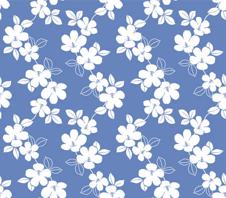 Japanese White Flower Branch Vector Seamless Pattern Illustration