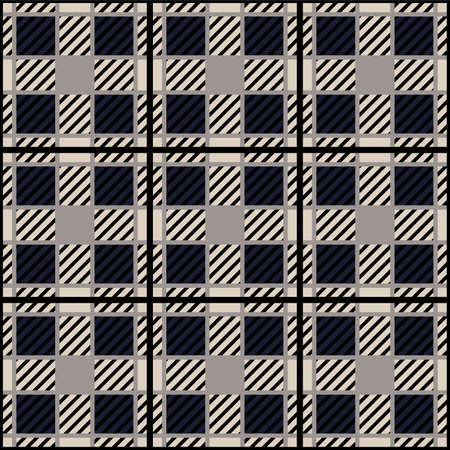 Japanese Square Plaid Vector Seamless Pattern Illustration