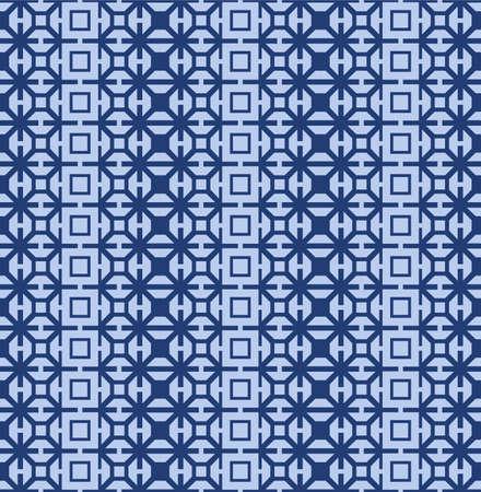 Japanese Star Square Motif Vector Seamless Pattern