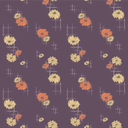 Japanese Flower Cross Shape Vector Seamless Pattern