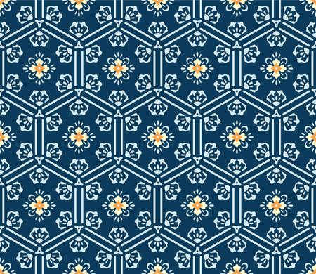 Japanese Hexagon Flower Art Vector Seamless Pattern