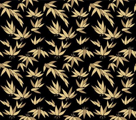 Japanese Gold Leaf Bush Vector Seamless Pattern Illustration