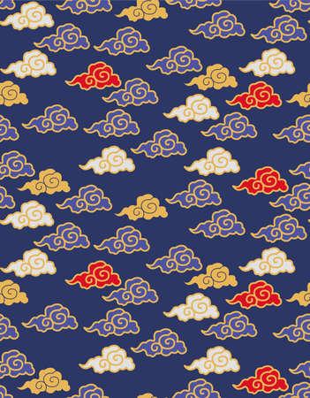 Japanese Art Cloud Vector Seamless Pattern Illustration