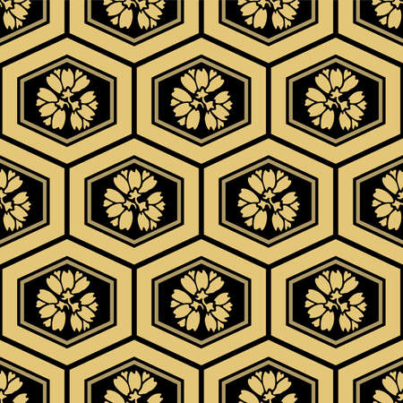 Japanese Luxury Hexagon Flower Vector Seamless Pattern