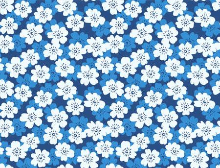 Japanese Cute Blue Flower Vector Seamless Pattern