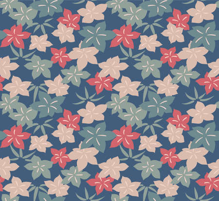 Japanese Pastel Tropical Leaf Vector Seamless Pattern