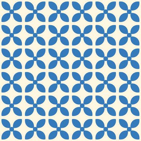 Japanese Cute Cross Shape Flower Vector Seamless Pattern