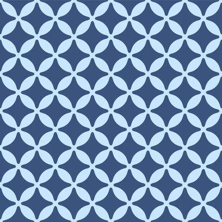 Japanese Flower Diamond Vector Seamless Pattern