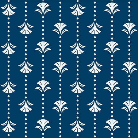 Japanese Flower Dot Line Vector Seamless Pattern Illustration