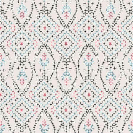 Japanese Flower Embroidery Diamond Vector Seamless Pattern