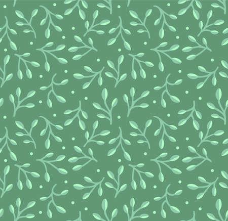 Japanese Curl Leaf Branch Stem Vector Seamless Pattern Illustration