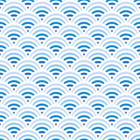 Japanese Blue Wave Vector Seamless Pattern Illustration