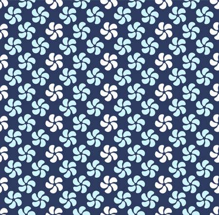 Japanese Cute Spiral Flower Vector Seamless Pattern