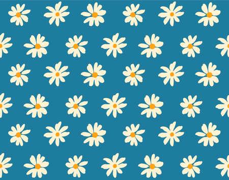 Japanese Pretty Daisy Flower Vector Seamless Pattern