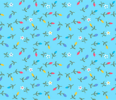 Japanese Small Cartoon Flower Vector Seamless Pattern
