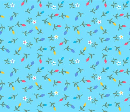 Japanese Small Cartoon Flower Vector Seamless Pattern
