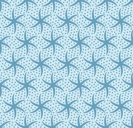 Japanese Spiral Star Vector Seamless Pattern Illustration