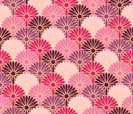 Japanese Chrysanthemum Flower Wave Vector Seamless Pattern