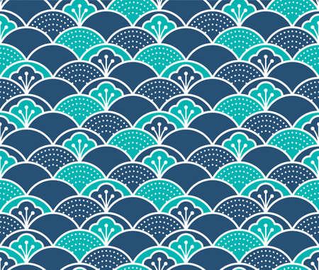 Japanese Flower Wave Vector Seamless Pattern Illustration