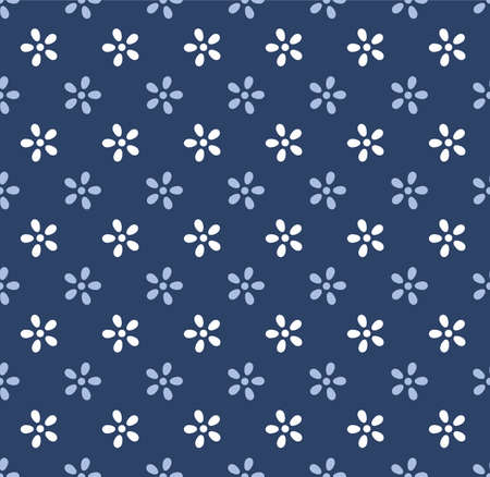 Japanese Cute Flower Vector Seamless Pattern