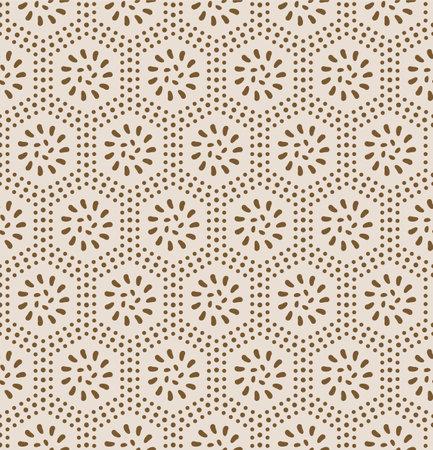 Japanese Dot Flower Hexagon Vector Seamless Pattern Illustration