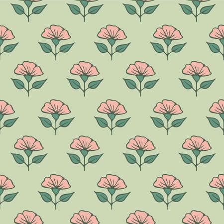 Japanese Sweet Flower Vector Seamless Pattern Illustration